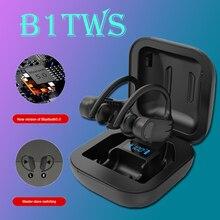 B1 TWS LED Bluetooth אוזניות מוסיקה אוזניות עסקים אוזניות אפרכסת ספורט אוזניות הפחתת רעש עובד על כל טלפונים חכמים