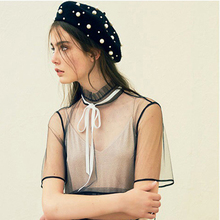 2019 Hats Knitted Wool Beret Bonnet Female French Winter Warm Pearl Ber