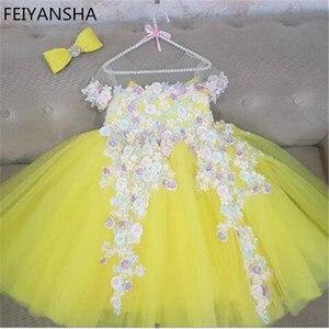 Платье с цветочным узором для девочек на свадьбу; От 0 до 6 лет для маленьких девочек; Одежда для дня рождения; Детские платья для первого прич...