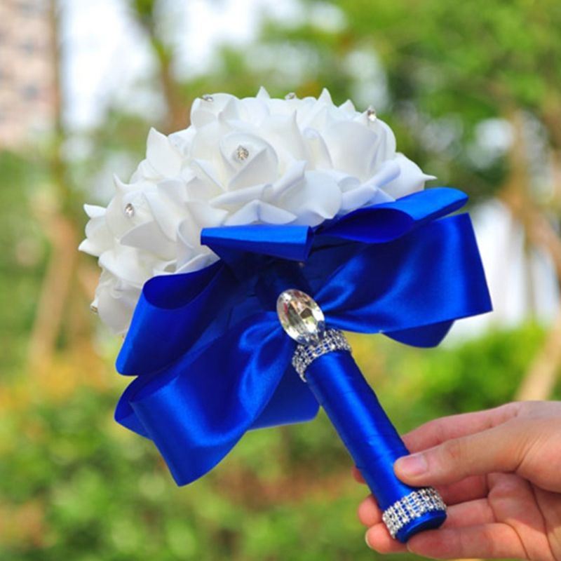 Korean Style Wedding Bridal Bouquet Artificial Flower PE Foam Roses With Faux Crystal Rhinestone Ribbons For Party Church Decor