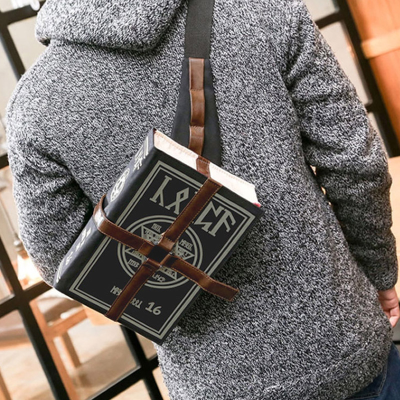 Gothic Magical Spell Book Messenger Bag Crossbody Bag  Soft Washed Handbag Purses Chain Gift Cosplay Adjustable For Students