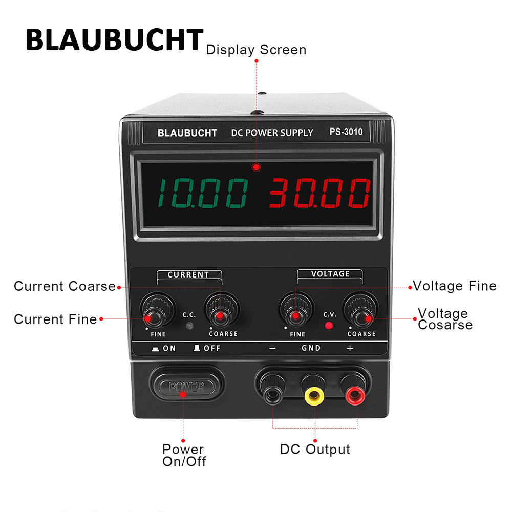 BLAUBUCHT Digital Switching <font><b>DC</b></font> Lab <font><b>Power</b></font> <font><b>Supply</b></font> Adjustable Precise <font><b>30V</b></font> 10A 60V <font><b>5A</b></font> Laboratory Source Voltage Current Regulator image