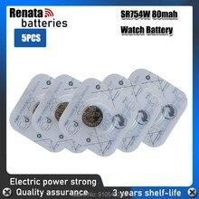 5 pçs/lote RENATA Relógio De Óxido De Prata Bateria 393 renata SR754W 754 155V 100% 393 754 Bateria