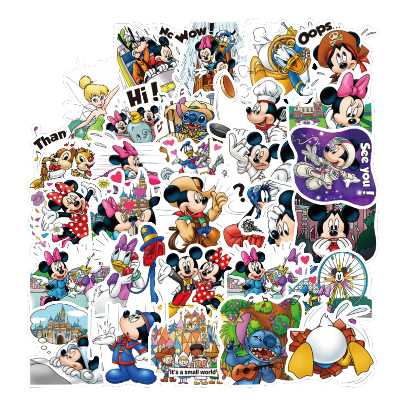 40Pcs Classics Cute Cartoon Stickers Princess Disneyy Scrapbooking Stickers For Luggage Laptop Notebook Car Motorcycle Toy Phone
