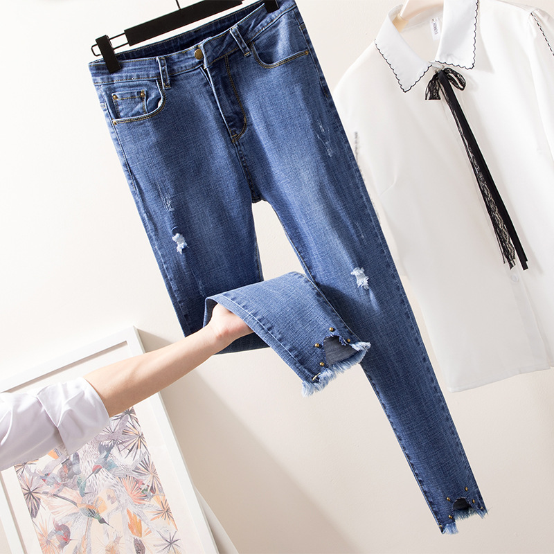2019 Large Size Dress Autumn New Style Jeans Suitable Thick Large GIRL'S Elasticity Slimming Cowboy Trousers On Behalf