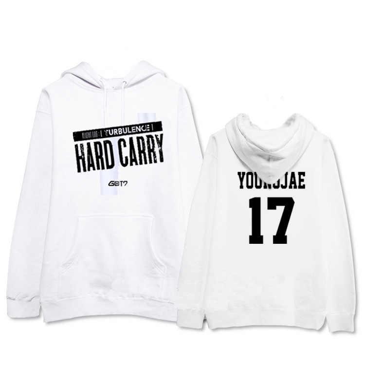 Allkpoper kpop got7 duro transportar boné moletom com capuz turbulência sweatershirt jackson pullover vôo log velo/fino roupas casuais topo