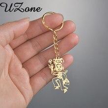 Uzone personalizado crianças desenho chaveiro de aço inoxidável logotipo personalizado mão pintado chaveiros para presentes femininos