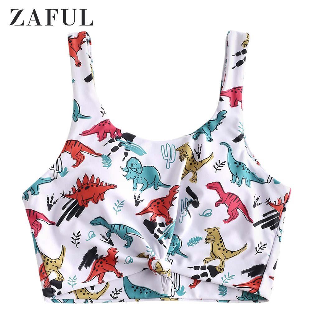 ZAFUL Dinosaur Print Knotted Hem Cropped Bikini Top