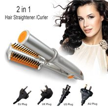 2 in 1 Hair Straightener Iron Curling Curler Portable Adjustable Temperature Ceramic Curling Iron Wand Roller Hairdressing Tool