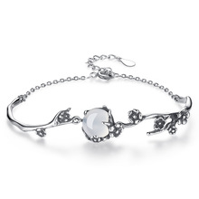 цены ModaOne Vintage Fashion Thai Silver Bracelet White Moonlight Stone Plum Flower 925 Sterling Silver Bracelet pulseira