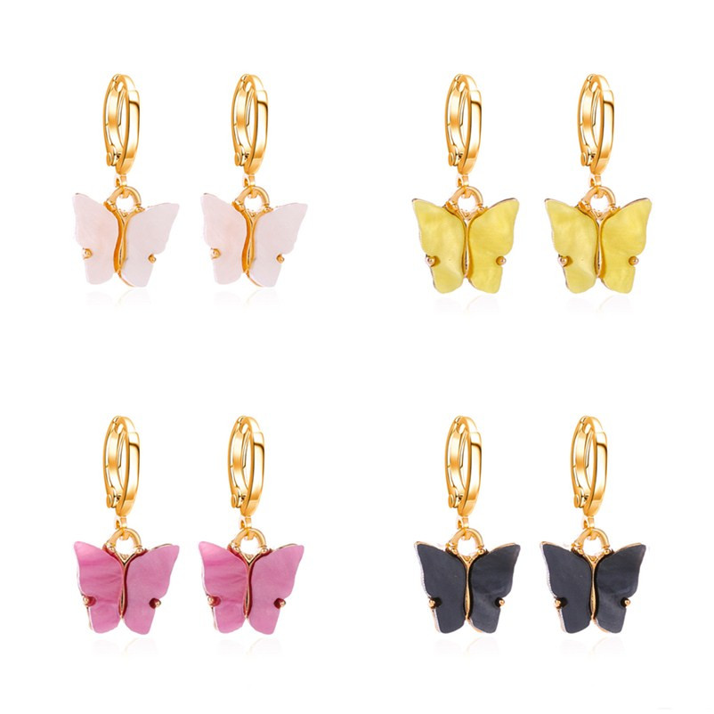 2020 New Fashion Women Butterfly Drop Earrings Animal Sweet Colorful Acrylic Earrings Statement Girls Party Jewelry Kolczyki