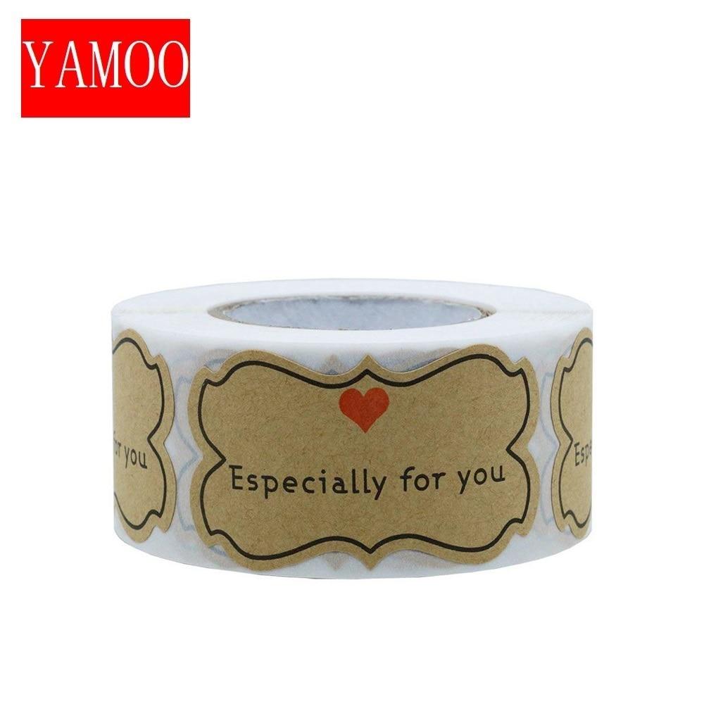 250 pçs kraft papel adesivos especialmente para você selo etiquetas diy presente de embalagem de presente de férias adesivos bonito adesivo papelaria|Adesivos|   -