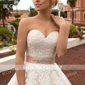Image 3 - Moda ayrılabilir 2 In 1 düğün elbisesi BECHOYER N239 aplikler dantel A Line prenses kristal kemer gelin kıyafeti Vestido de Noiva