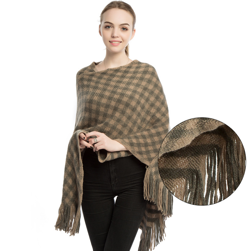 Classic Plaid Winter Poncho Knit Pullover For Women Fashion Shawl Cape Coat Lady's Cloak Ponchos And Capes Keep Warm 4 Colors