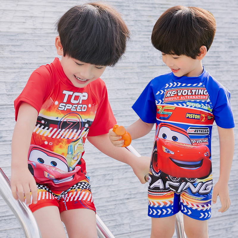 Race Car McQueen One-piece Swimwear Boxer Sports BOY'S Swimsuit CHILDREN'S Water Park Play With Water Quick-Dry Boy Swimwear