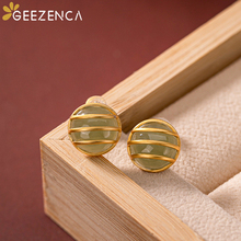 Trendy 925 Sterling Silver Gold Plated Round Green Jade Stud Earrings Fine Jewelry For Women Natural Stone 2020 Summer
