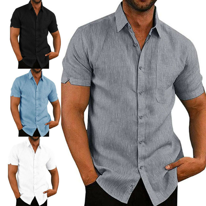 Mens Linen Blouse Short Sleeve Baggy Buttons Summer Solid Comfortable Pure Cotton And Linen Casual Loose Holiday Shirts Tee Tops 1