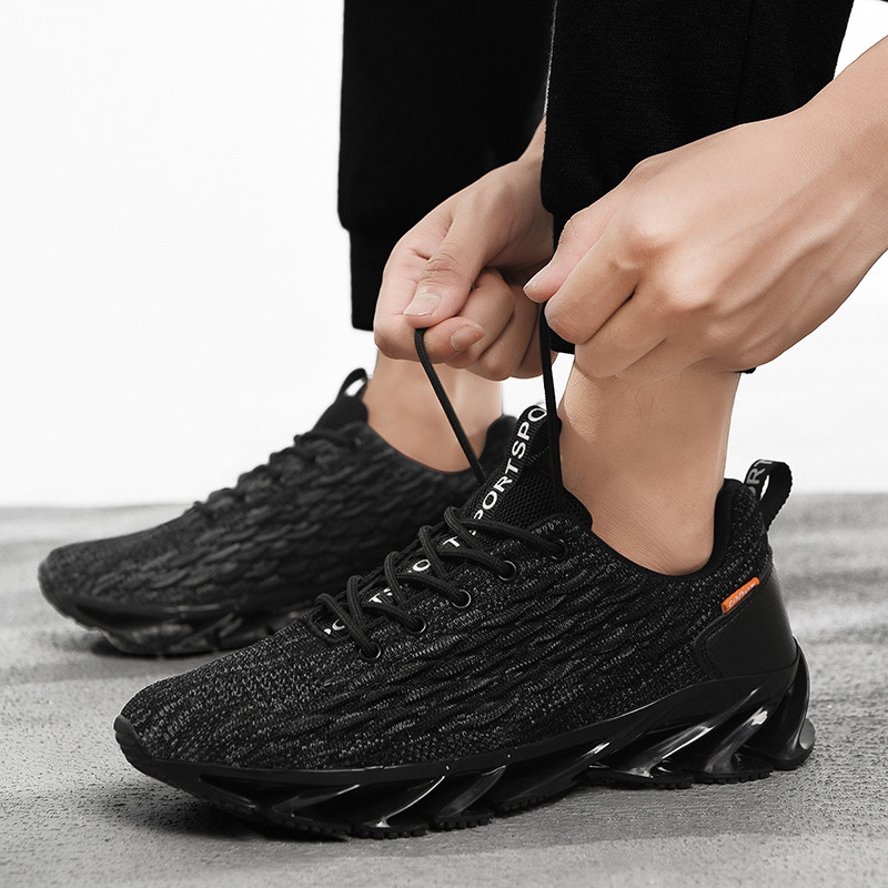 새로운 도착 통기성 캐주얼 신발 패션 남성 스니커즈 스티칭 에어 메쉬 신발 가을과 겨울 비늘 flyknit 신발 조수