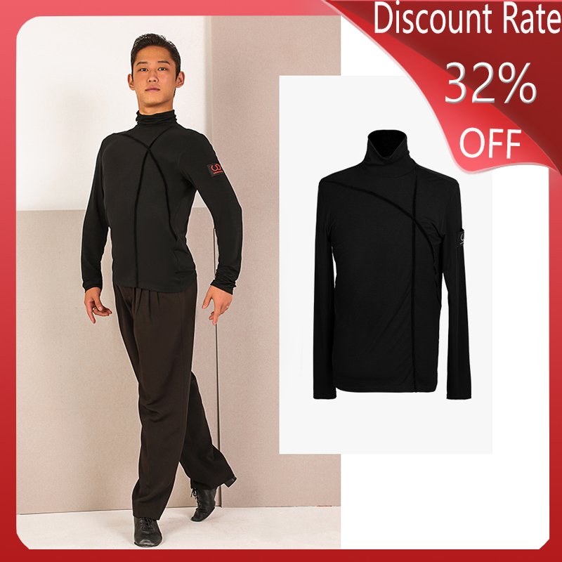 Men Latin Dance Costumes Black Dance Tops Adult Latin Dance Competition Dresses Clothing Ballroom Modren Latin Dancewear DQS3568