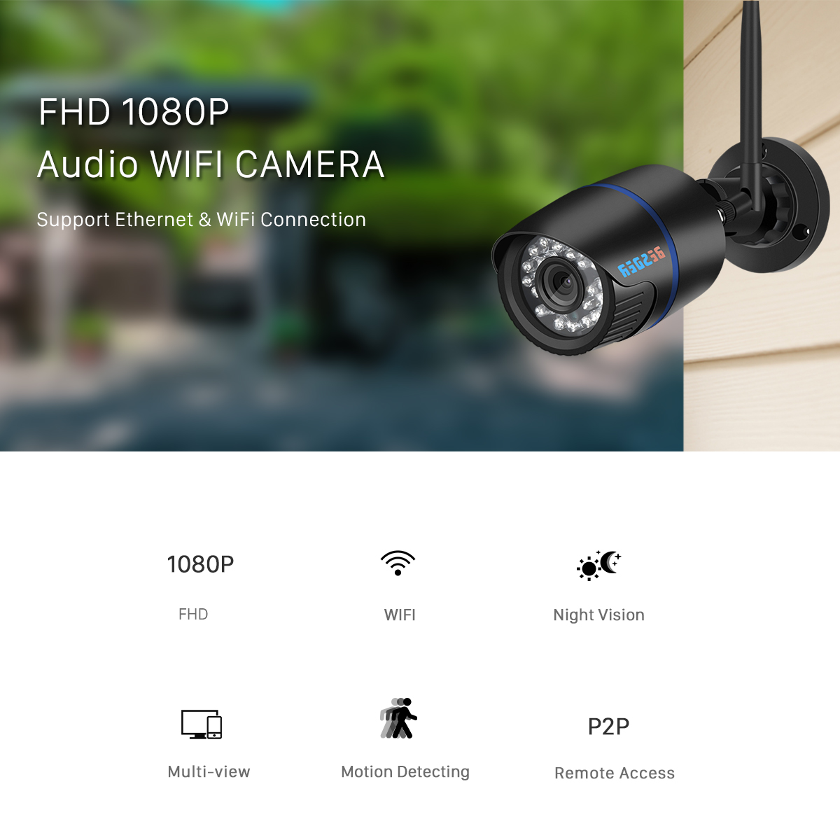2pcs 1080P IP Camera Network Wi-fi Security Home Motion p2p Color Day// Night BE