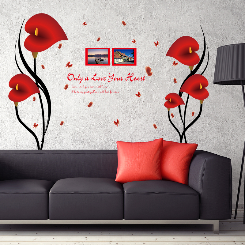 Diy Romantic Red Anthurium Flowers Butterfly Wall Stickers Photo Frame Quotes Home Decor Removable Vinyl Pvc Bedroom Deco Decals Wall Stickers Aliexpress