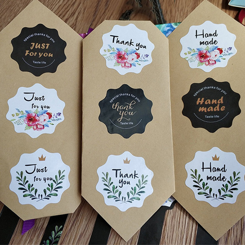 100pcs/pack High Quality Cake Packaging Lace-shaped Thankyou Hand Made Baking DIY Gift Seals Sticker