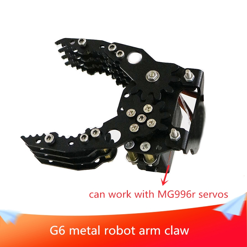 <font><b>G6</b></font> Robot Arm Claw/Hand Grip Gripper Servo Grip, Compatible with MG996r Servo,DIY Pan/Tilt Grab Handling Can with 7DOF Robot Arm image