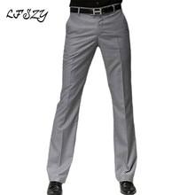 Color: Black Gray Navy Blue Men's Suit Pants 2019 New Micro Flare Pants Male Korean Straight
