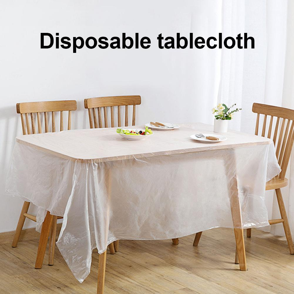 1 Roll Household PE Disposable Plastic Tablecloth Film Rectangle Table Cover 180*180cm/200cm*200cm Protector Desk Pad for Party