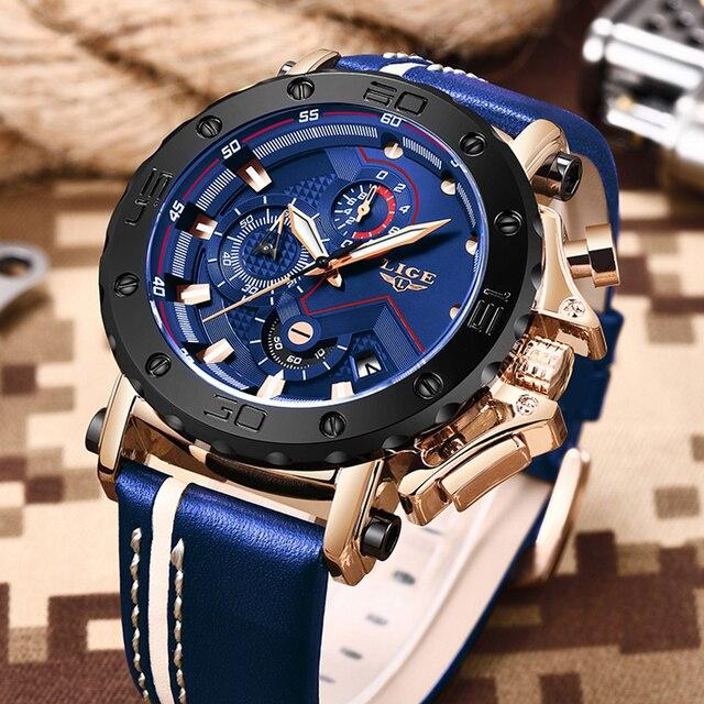 2020 LIGE Mens Luxury Fashion Leather Waterproof Sport Chronograph Watch 3