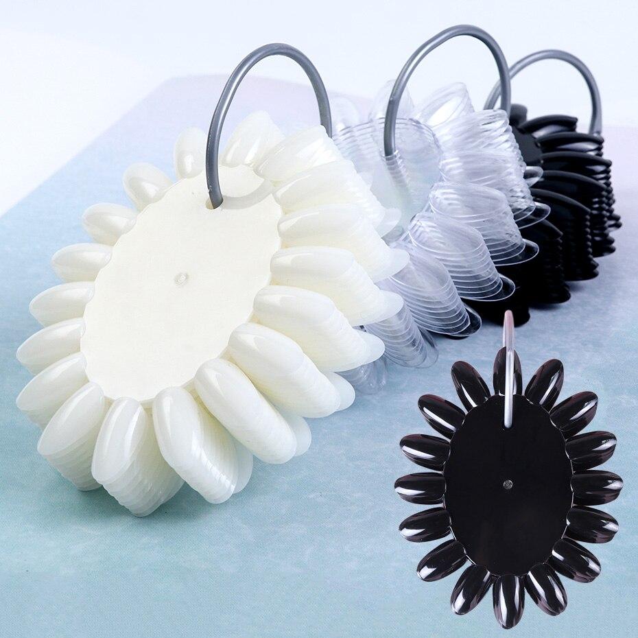 160 Tips Fake Nails Oval Clear Natural Black Tips On Ring Display False Nail Art Designs Acrylic UV Gel Manicure Tools JI1513(China)