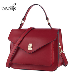 BISONJS, bolso de cuero de vaca para mujer, bolso Vintage para mujer, 2019, bolsos de lujo para mujer, bolsos de diseñador, bolso de hombro femenino B1930