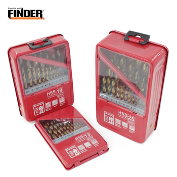 FINDER 13/19/25PCS 1.0~13mm HSS Titanium Coated Drill Bit Set For Metal Woodworking Drilling Power Tools Accessories In Iron Box