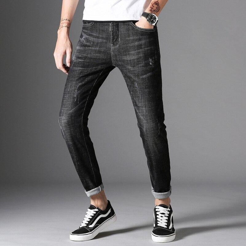 Black Series Metal Jeans Hong Kong Style Teenager Skinny Harem Pants Men'S Wear Xintang Cowboy City Changing