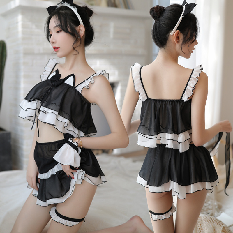 Pleated Skirt <font><b>Cosplay</b></font> <font><b>Cat</b></font> Girl Maid <font><b>Sexy</b></font> Lingerie Uniforms <font><b>Sexy</b></font> Costumes Women Sex Products <font><b>Sexy</b></font> Underwear Role Play Erotic image