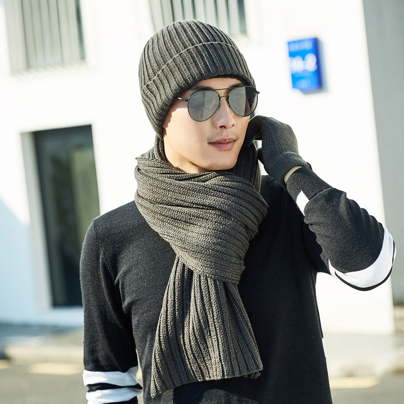 New Winter Knit Hats Scarf 2 Pieces Set Men's And Women's Plus Velvet Thicken Soft Cap Scarves Warm Loose Wintercap