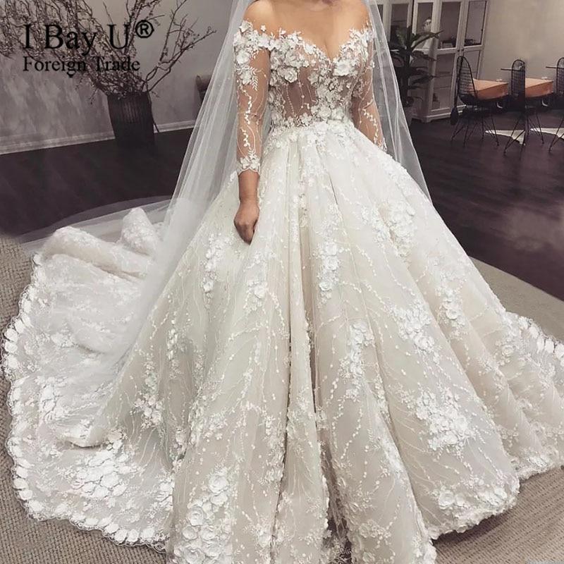 Luxury 3D Lace Flowers Off Shoulder Ball Gown Wedding Dresses Vintage Princess Saudi Arabic Dubai Plus Size Bridal Gown