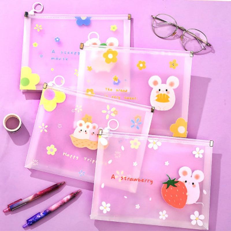 1pcs Hamster Folder Kawaii Stationery Pencil Bag High Capacity Korean Bag Novelty Student File Holder Kawaii School Supplies