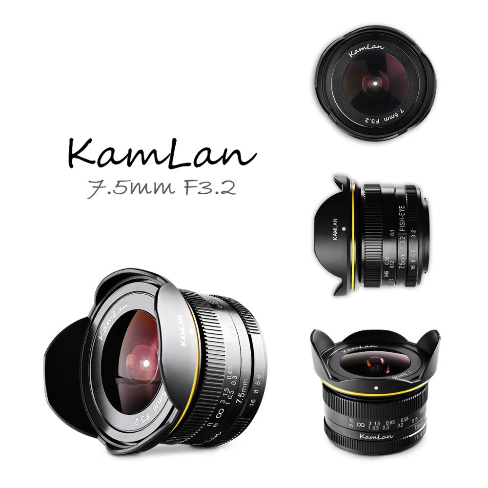 Kamlan 7.5mm f3.2 Fixed-focus Large Aperture Fisheye Wide Angle Mirrorless Camera Lens M4/3-mount telephoto lens unit