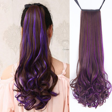 AOOSOO Long curly hair two-color wig high temperature fiber hairpin ponytail