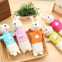 1PCS Korean simple rabbit Cute Solid Color Plush Pencil Case For Girls Bag Stationery case Kawaii School Supplie