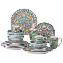 VANCASSO 16/32/48-Piece Bohemian Mandala Patterned Green Porcelain Tableware Dinner Set with Dinner Plate,Dessert Plate,Bowl,Mug