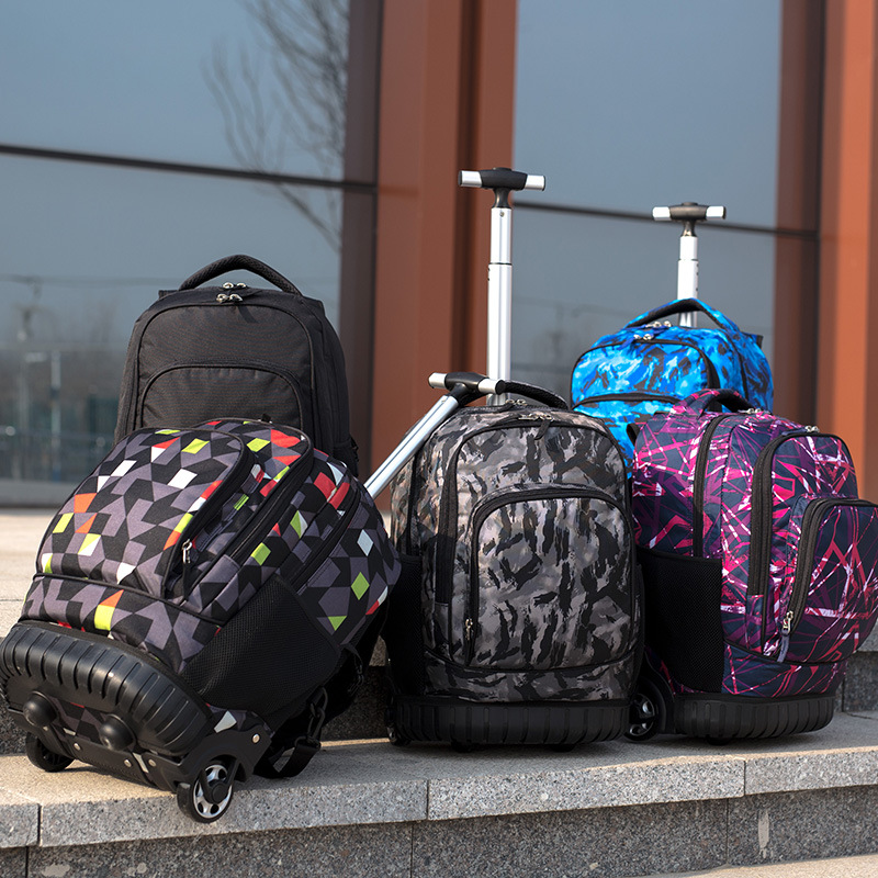 Image 2 - 18 Inch Rolling Backpack Travel School Backpacks on Wheel Trolley SchoolBag for Teenagers Boys Children School Bag with Wheels-in School Bags from Luggage & Bags