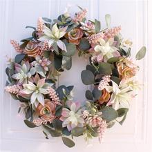 Искусственный венок дверь отделка орнамент Висячие суккуленты поддельные цветок Гирлянда для дома сад Рождество Свадебные украшения Цветочные