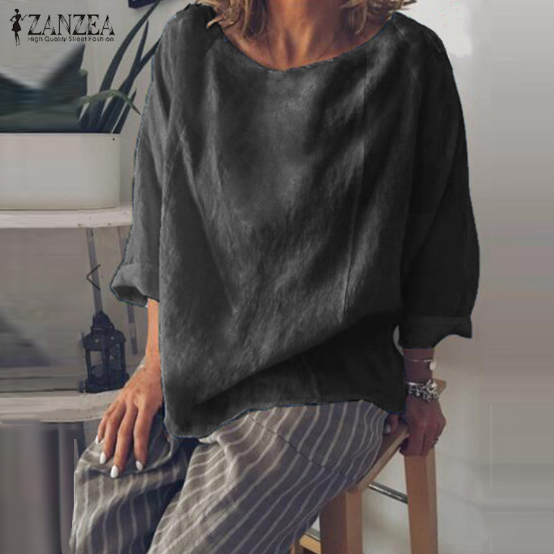 ZANZEA Autumn Tops Women Long Sleeve Blouse Elegant O Neck Solid Casual Blusas Femininas Loose Shirt Chemise Plus Size Blouses