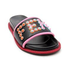 brand designer leather flat sandals 2020 summer shoes women