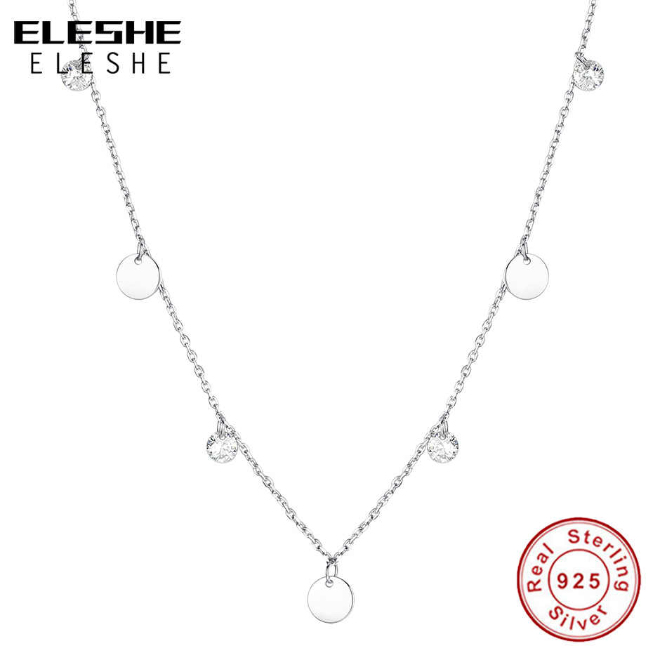 ELESHE Vintage 925 Sterling Silver Cubic Zircon Crystal Round Coin Choker Necklaces Pendant for Women Fashion Silver Jewelry