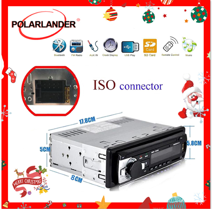 Polarlander 1din Car Radio Autoradio Bluetooth Car Stereo Radio FM Aux Input Receiver SD USB 12V In-dash MP3 Multimedia Player