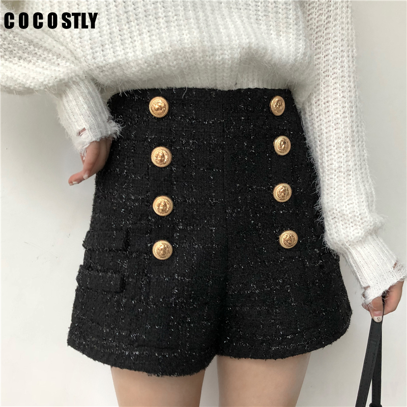 Autumn Winter New Fashion Women Shorts Double-breasted Gold Button High Waist Tweed Shorts Women Plus Size
