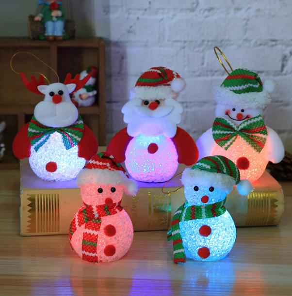 Christmas Luminous Snowman Doll LED With Lights Doll Christmas Tree Decoration Pendant Ornaments 2019 Children's Small Gifts